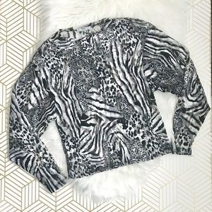 Zara | Animal Print Sheer Top Size Small